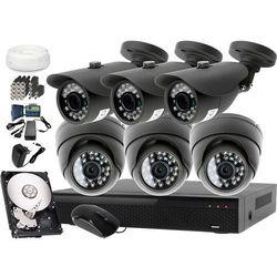 Kompletny zestaw monitoringu na 6 kamery jakość HD LV-AL20MT i LV-AL25MD Rejestrator LV-XVR84N Dysk 1TB Akcesoria