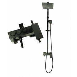 MAXO Zestaw natryskowy z baterią deszczownica ultra slim czarny