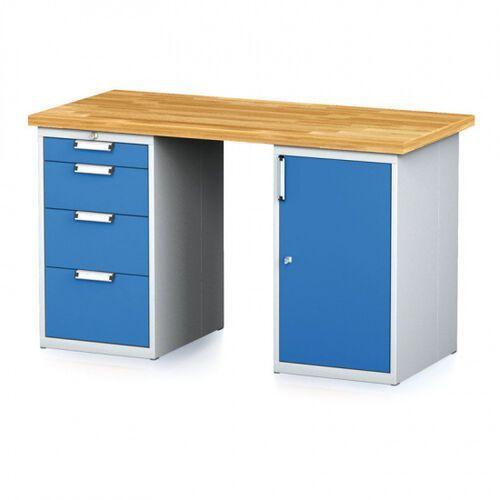 Stoły warsztatowe, Stół warsztatowy MECHANIC, 1500x700x880 mm, 1x 4 szufladowy kontener, 2x szafka, szary/niebieski