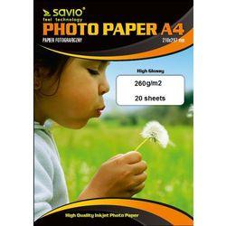 Papier fotograficzny SAVIO PA-15 A4 260g/m2 20 szt. błysk