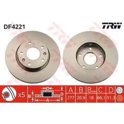 TARCZA HAM TRW DF4221 LAND ROVER FREELANDER 1.8 16V 00-, 2.0TD4 01-, 2.5 V6 00-