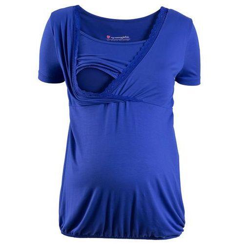 Koszule damskie, Shirt ciążowy i do kamienia, z koronkową wstawką, krótki rękaw bonprix szafirowo-niebieski