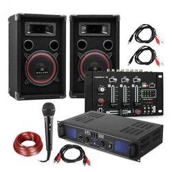"""Electronic-Star Zestaw DJ PA """"DJ-14"""" USB wzmacniacz PA mikser USB 2 x głośnik mikrofon karaoke"""