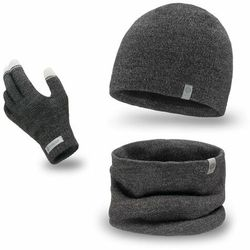 Komplet męski PaMaMi - czapka, komin i rękawiczki - Ciemnoszara mulina