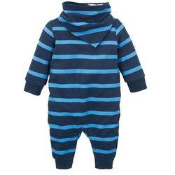Kombinezon dresowy niemowlęcy + chusta trójkątna (2 części), bawełna organiczna bonprix ciemnoniebiesko-błękitny