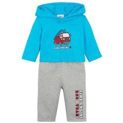 Shirt niemowlęcy + spodnie dresowe (2 części), bawełna organiczna bonprix turkusowo-jasnoszary melanż