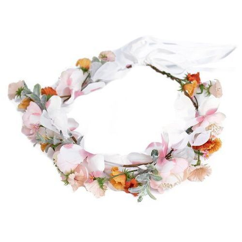Pozostała biżuteria, Wianek do włosów boho kwiaty biały listki wstążka