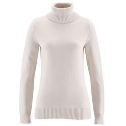 Sweter z golfem bonprix biel wełny