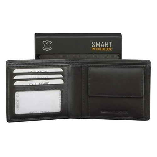 Portfele i portmonetki, Męski Antykradzieżowy Portfel RFID Chroni Karty Zbliżeniowe SM-901PBL