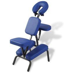 vidaXL Niebieski, składany i przenośny fotel masujący Darmowa wysyłka i zwroty