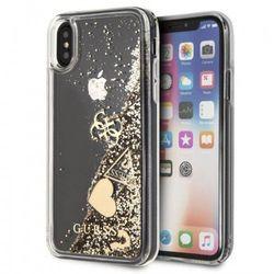 Guess Liquid Glitter Hearts - Etui iPhone 8 Plus / 7 Plus (złoty)