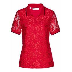 Shirt polo z koronki bonprix czerwono-czarny
