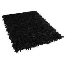 Dywan czarny 80 x 150 cm skórzany MUT