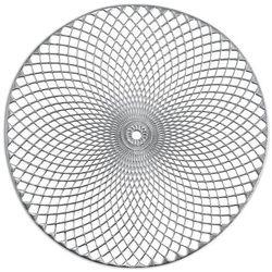 """Srebrna podkładka koronkowa z tworzywa """"Mandala"""", podkładki pod talerze, podkładki na stół nowoczesne, podkładki na stół okrągłe, ZELLER"""