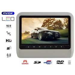 "NVOX DV1017HD GR Monitor na zagłówek samochodowy LCD 10"" LED HD DVD USB SD IR FM GRY 12V"