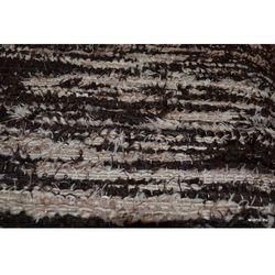 Chodnik bawełniany ręcznie tkany ciemnobrązowy - ecru 65x150 cm