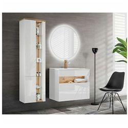 Zestaw mebli łazienkowych z oświetleniem LED Monako 2Q 80 cm - Biały połysk