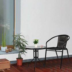 Stolik ogrodowy okrągły na balkon metal i szkło czarny