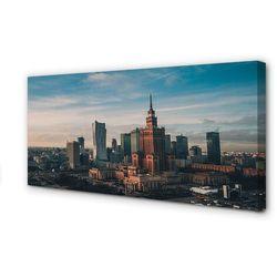 Obrazy na płótnie Warszawa Wieżowce panorama wschód słońca