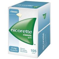 Gumy nikotynowe, Nicorette, guma do żucia, 4 mg, 105 szt