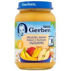 GERBER 190g Jabłuszka Banany Mango z płatkami owsianymi Deserek w słoiczku 8m+