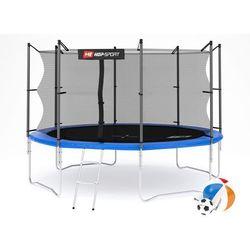 Trampolina ogrodowa 12ft (366cm) z siatką wewnętrzną Hop-Sport - 4 nogi - niebieski \ 366 cm