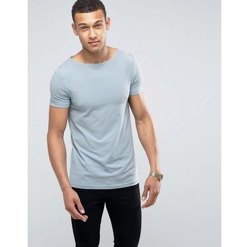 T-shirty męskie, ASOS Muscle Fit T-Shirt With Boat Neck And Stretch - Blue