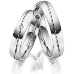 Obrączki Ślubne ze stali chirurgicznej - komplet. Półokrągłe, polerowane z 1 cyrkonią