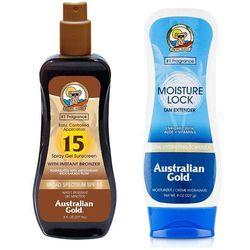 Australian Gold SPF 15 Spray Gel Bronzer and Moisture Lock | Zestaw do opalania: spray do opalania z bronzerem 237ml + balsam po opalaniu 227g