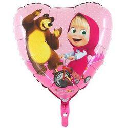 Balon foliowy serce Masza i Niedźwiedź - 45 cm - 1 szt.