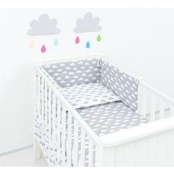 MAMO-TATO Ochraniacz do łóżeczka 60x120 Chmurki szare na bieli / Chmurki białe na szarym
