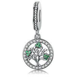 Rodowany srebrny wiszący charms pandora drzewo życia cyrkonie srebro 925 BEAD161