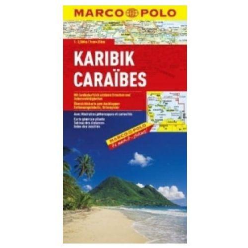 Mapy i atlasy turystyczne, Karaiby. Mapa samochodowa, składana 1:2 500 000. Marco Polo (opr. twarda)