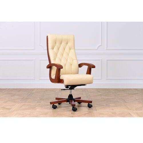 Fotele i krzesła biurowe, Fotel skórzany CONSUL kremowy
