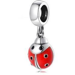 Rodowany srebrny wiszący charms do pandora biedronka ladybug srebro 925 CHARM242