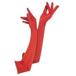 Rękawiczki karnawałowe czerwone długie - 45 cm.