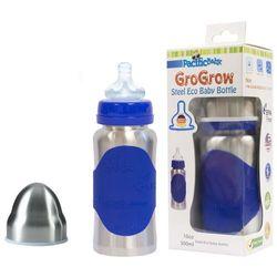 PACIFIC BABY Butelka ze smoczkiem GroGrow - 300 ml - Srebrno niebieska - BEZPŁATNY ODBIÓR: WROCŁAW!