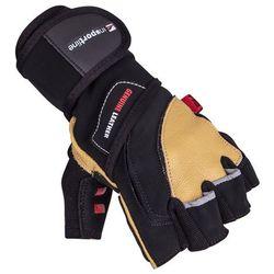 Skórzane rękawice do ćwiczeń fitness na siłownie inSPORTline Trituro, Czarno-żółty, M