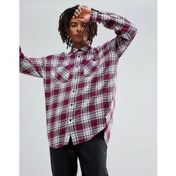 ASOS DESIGN drop shoulder oversized longline check shirt with bleach wash - Red