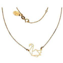 Pozłacany srebrny naszyjnik gwiazd celebrytka origami żuraw ptak srebro 925 CEL105NG