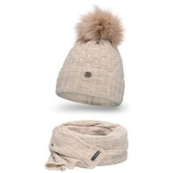 Komplet PaMaMi, czapka i szalik - Beżowy - Beżowy