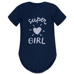 Niemowlęce body KOPERTOWE krótki rękaw granatowe Super Girl