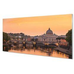 Panel Szklany Rzym Zachód słońca mosty rzeka budynki