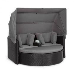 Blumfeldt Heartland, 2-osobowa sofa wypoczynkowa, ze stolikiem, stołkiem, dachem przeciwsłonecznym, szara