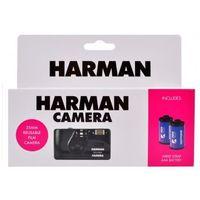 Aparaty analogowe, Harman Camera aparat z lampą wielokrotnego użytku + 2 filmy Kentmere Pan 400/36