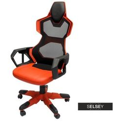 SELSEY Fotel gamingowy E-Blue Cobra Air czarno-czerwony z wentylacją