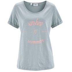 Shirt, krótki rękaw bonprix srebrnoszary z nadrukiem