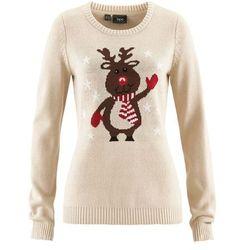 Sweter bożonarodzeniowy z okrągłym dekoltem bonprix beżowo-szary