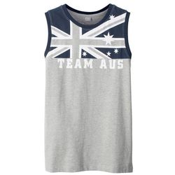 Koszulka bez rękawów bonprix jasnoszary melanż z nadrukiem - Australia