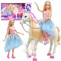 Lalki dla dzieci, BARBIE Przygody Księżniczek Lalka księżniczka z koniem GML79 - Barbie z koniem
